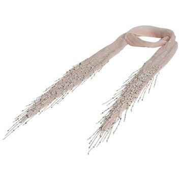 It's Back For SPRING: Beaded Skinny Chiffon Scarf; Handmade: Peach