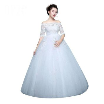 White Wedding Dresses Lace Boat Neck Lace Up Ball Gown Princess