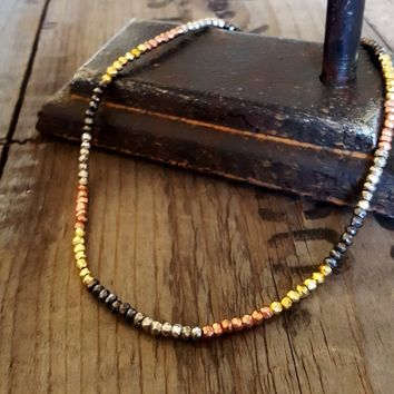 Pyrite Bead Necklace, Multi Color Mixed Bead Tribal African Necklace