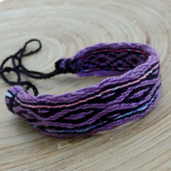 weaving cotton men bracelet, table weave woven friendship braceet, women folk arm band, purple black bracalet, viking pattern, wrist band