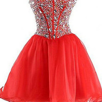 Red Homecoming Dress Sweetheart Style