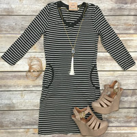 Steppin' Out in Stripes Dress: Olive