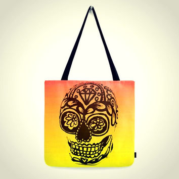 Ombre Sugar Skull Tote Bag Day of the Dead Orange Yellow Pink Black 16 x 16 Medium sized tote bag