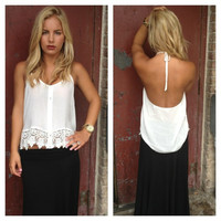 Haltered Low Back Crochet Tank