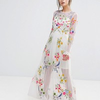 Frock And Frill Embroidered Maxi Dress With Tie Waist at asos.com