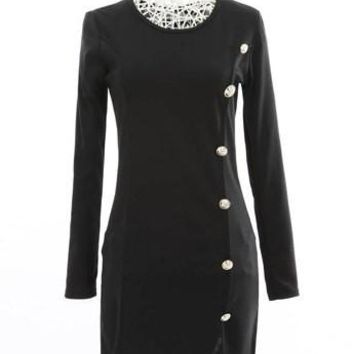 Black Button-Up Long Sleeve Dress