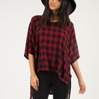 Oversized Checkered Stretchy Tee - One Size