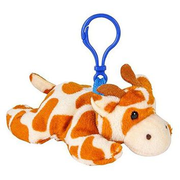 Wildlife Tree Giraffe Plush 3.5 Inch Stuffed Animal Backpack Clip Toy Keychain Wildlife Hanger Party Favor Pack of 12