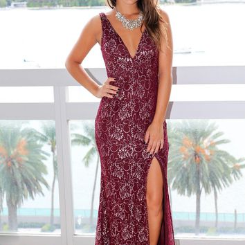 Wine Maxi Dress with Silver Lace Detail