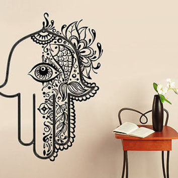Hamsa Fatima Hand Wall Decal Vinyl Sticker Decals Lotus Flower Yoga Namaste C11