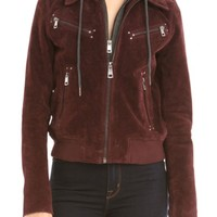 Bagatelle Suede Jacket with Detachable Hood | Nordstrom