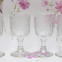 Port Glasses, Sherry Glasses, Drink Glasses, Depression Glass, Set of Four, Jeanette Glass Co, Iris and Herringbone, Art Deco -1920s / 1930s