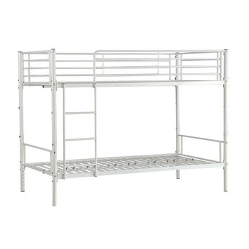 Twin over Twin Metal Bunk Bed Frame in White with Ladder