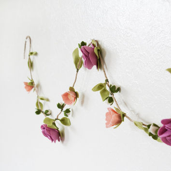"Felt Flower Vine - Felt Flower Garland ""Enchanted Blooms"""