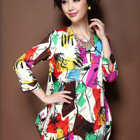 Graffiti Print Long Sleeve Mini Dress