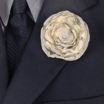 Ivory Fabric Flower Boutonniere with Smokey Edges and Finished with a Swarovski Crystal Rhinestone, Groom Boutonniere, Groomsmen