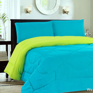 Down Alternative Reversible Comforter Turquoise/Lime