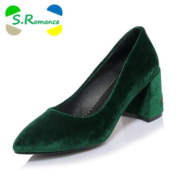 S.Romance Women Pumps Fashion Plus Size 32-42 Elegant Pointed Toe Strange High Heels New Lady Woman Shoes Black Red Green SH531