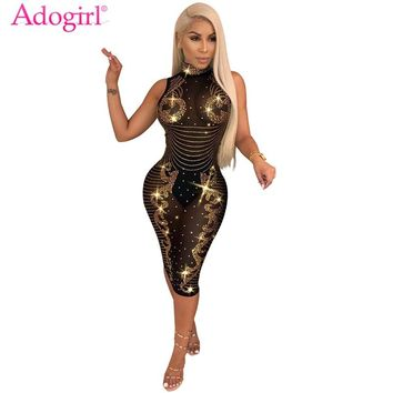 Adogirl Sparkling Diamonds Sheer Mesh Bodycon Dress Turtleneck Sleeveless Bandage Midi Night Club Party Dresses Vestido Outfits