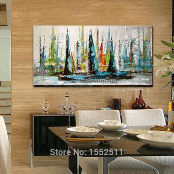Hand painted canvas modern abstract oil painting boat ship sailing yacht wall ar