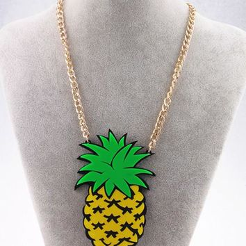 Fashion Metal Gold Chain Big Acrylic Pineapple Pendant Necklace Punk Hip Hop Night Club Jewelry Accessories