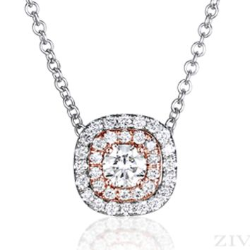 Ziva Double Halo Diamond Necklace in White & Rose Gold