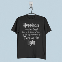 Men T-Shirt - Harry Potter Quotes Happiness Can be Found Even in The Darkest of Times If One Remembers