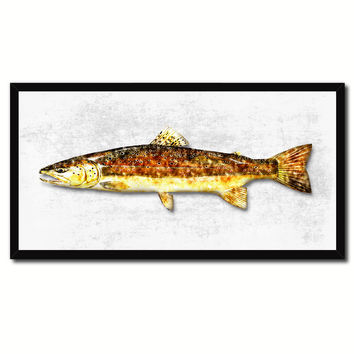 Brown Trout Fish Art White Canvas Print Picture Frames Home Decor Nautical Fisherman Gifts