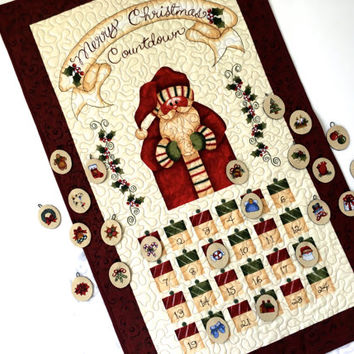 Christmas Count Down Advent Calendar  Quilted Santa Kids  Holiday Activity Panel  Christmas Quilted Decor  Country Home Decor St. Nick Panel