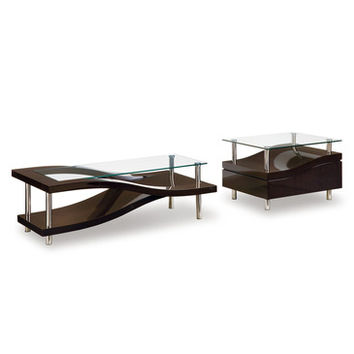 Global Furniture USA 759 Wave 2 Piece Clear Glass Coffee Table Set in Wenge