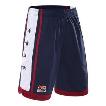 USA Basketball Shorts Men Polyester Mesh Sport Running Short Pants Homme Drawstring Gym Joggers Bermuda Surf Pantaloncini Basket