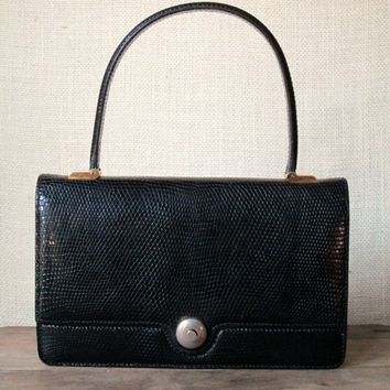 Designer Handbag Vintage 60s Mad Men purse envelope bag elegant high fashion black lizard leather Jackie Kennedy style Lederer France