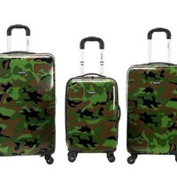 Rockland Luggage 3PC Spinner Hardcase Expandable Camo Army Green Suitcases TSA