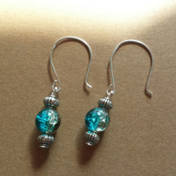 Dangle Earrings, blue and brown crackle beads, nickel and lead free silver plated handmade