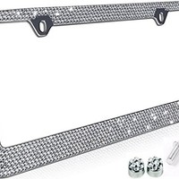 Popular Bling 7 Row White / Clear Color Crystal Metal Chrome License Plate Frame With Crystal Screw Caps - 1 Frame