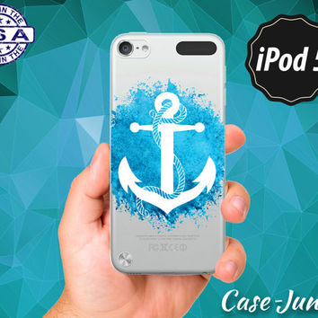 Anchor Blue Paint Splatter Nautical Navy Ocean Cute Tumblr Rubber Transparent Crystal Clear Custom Case For iPod Touch 5th Generation Gen