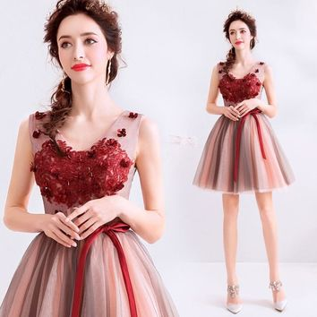 Short prom dress tulle forest fairy party dress