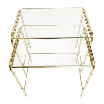 Pre-owned Faux Bamboo Brass Nesting Tables - A Pair