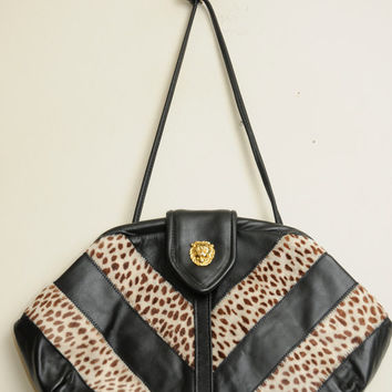 Amazing Vintage 80s/90s Leather and Pony Hair Gold Lion Snap Shoulder Bag Purse