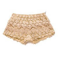 Floral Crochet Shorts in Peach - Bottoms - Retro, Indie and Unique Fashion