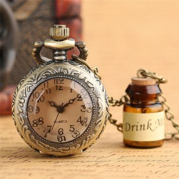 Vintage Glass Alice In Wonderland with Cute Drink Me Bottle Dark Brown Quartz Pocket Watch for Women Lady Girl Unique Gifts