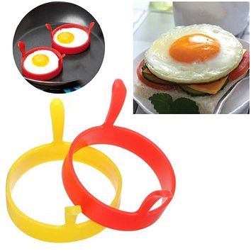 TENSKE Silicone Round Egg Rings Pancake Mold Ring W Handles Nonstick Fried Frying *23 hogar cocina 2017 hot sale