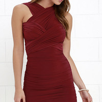 A Joy Forever Wine Red Convertible Dress
