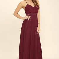 Stealing Kisses Wine Red Lace Maxi Dress
