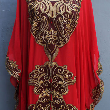 Full Gold Embroidery Red Caftan Dress, Beach Summer Party Dress, Long Kaftan Dress, Moroccan Dubai Caftan Dress, Abaya Kaftans