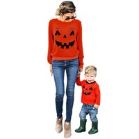 Mommy and Me Halloween Pumpkin Matching Shirts