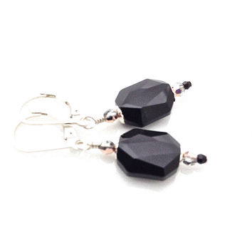 Black Earrings, Swarovski, Rose Gold, Crystal Dangle, Sterling Silver Leverback, Dressy, Pretty, Bead Caps, Pendant, Black Jewelry, Classic
