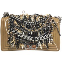 Chanel Enchained Boy Brown Knitting Wool Silver Metal Chain Shoulder Flap Bag