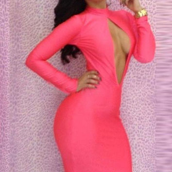 Pink Long Sleeve Front Halter Cut Out Bodycon Midi Dress