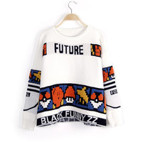 Stylish Cartoons Alphabet Patchwork Pullover Sweater Winter Long Sleeve Jacket [8216430977]